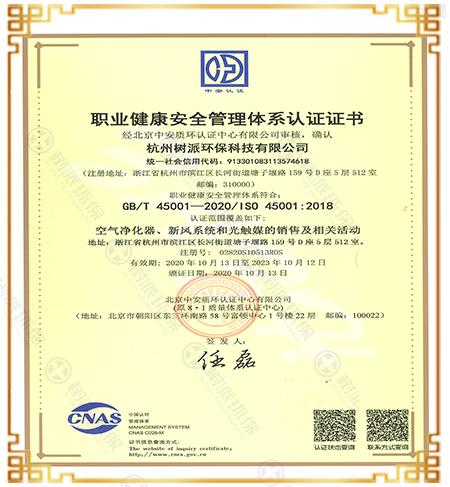 树派—职业健康安全管理体系认证证书